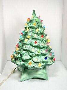 "15"" Vintage Ceramic Lighted Christmas Tree HCM Star Base Green Holiday Decor"