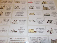 23 Laminated California Missions Flashcards. Preschool-5th Grade History.