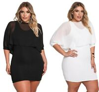 Ladies White Black Chiffon Lagen Layered Plus Size Bodycon Mini Dress 14 16 18