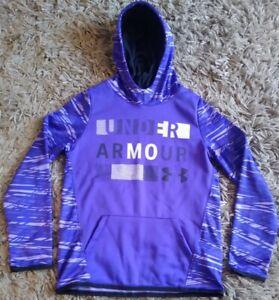 UNDER ARMOUR COLDGEAR Logo Hoodie Sweatshirt~Purple Geometric Design YLG Youth L