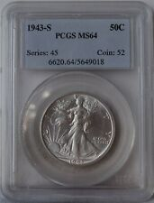 "1943-S Liberty Walking Half Dollar ""PCGS MS64"" *Free S/H After 1st Item*"