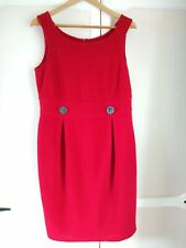 Lovely Marks and Spencers Autograph red pencil dress with button detail ~ 16