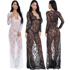Sexy Women Transparent Hollow Lace Deep V-neck Long Sleeve Maxi Dress Photo Prop