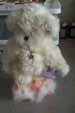 """Annette Funicello Dream Keeper White Jointed Bear 13"""" Tall with Tags"""