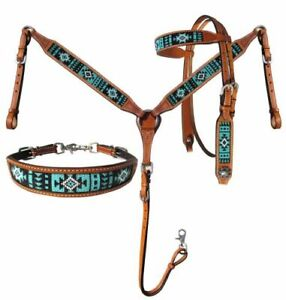 Showman Argentina Cow Leather Headstall and breast collar set