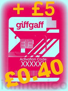 UK PAYG GIFFGAFF Triple SIM (Standard + Micro + Nano) + FREE SHIPPING + £5