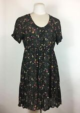 Vintage 1990s Black Floral Dress Babydoll Button Front Semi Sheer Grunge Revival
