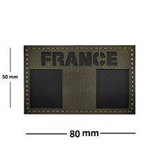 """Patch DRAPEAU """"FRANCE"""" - Écusson de bras couleur Vert Olive (Légion & Armées)"""