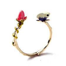 Brand New Designer Enamel Brass Gold Bouquet of Roses And Butterfly Rings Adjust