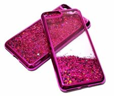 For iPhone 7 PLUS - Hot Pink Trim Glitter Stars Hybrid Liquid Water Case Cover