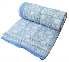 Twin Size 100%Cotton Floral Printed Indian Reversible Winter Razai Quilt Blanket