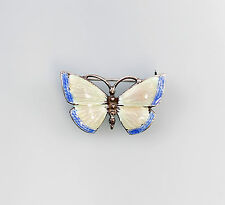 925er Silber emaillierte Brosche Schmetterling Jugendstil-Art blau rosa 9901289