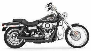 Black Staggered Duals by Freedom Performance HD00420 Harley FXD Dyna 2006-2017