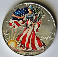 """2019 Silver Eagle Colorized Very Colorful /"""" Flamed Tiger /"""" ALL NEW POP 25"""