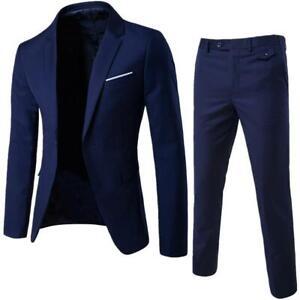 Men's Jacket Business Slim Suit Party Vest & Pants Wedding Blazer 2Pcs / Set