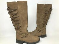 NEW! SO Youth Girls Kimberly Tall Zipper Buckle Boots Taupe #99042 191BBCCDD tk