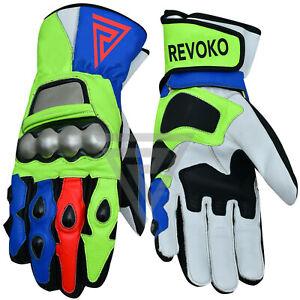 Revoko - VR Motorbike Racing Leather Gloves Bikers Gloves Riders Gloves