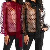 Size Women Polka Dot Sheer See-through Long Puff Sleeve Tops Blouse Club T Shirt