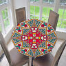 Large Elastic Edge Fitted Round Tablecover Table Pad~Bohemia Dia 1.2m