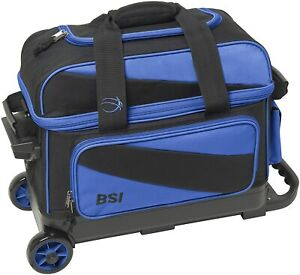 Double Roller Bowling Bag, Black/Blue