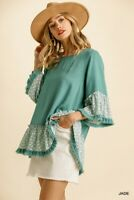 Umgee Jade Animal Print Linen Blend Bell Sleeve Top