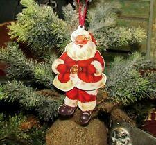 "Primitive Antique Vtg Style 6"" Jointed Santa Claus CHRISTMAS Tin Metal Ornament"