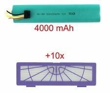 NiMh battery, 4000 mAh, and 10 filters for Neato Botvac 70, 70e, 75, 80, 85, etc