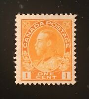 Stamps Canada SC105 1c orng yel KGV Admiral Mint Never Hinged, see detail