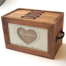 French Vintage Style Wooden Bonheur Heart Photo Album Storage Box - NEW