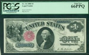 """$1.00 Legal Tender """"Sawhorse"""", 1880, Fr. #34, PCGS Grade 66PPQ Gem UNC"""