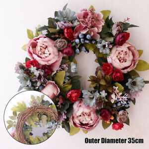 Artificial Peony Flower Wreath Fake Floral Rattan Garland Front Door Decor Props
