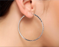 Earrings 9ct White Gold GF Silver Hoops 50 mm Gift Summer Wedding Holiday