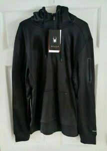NWT New Men's SPYDER ProWeb Active Sweatshirt Hooded Hoodie -Black size M MEDIUM