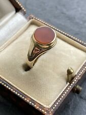 Victorian Yellow Gold Carnelian Close Back Round Signet Style Ring