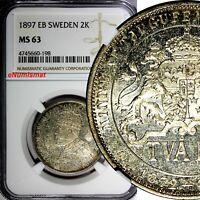 SWEDEN Silver Jubilee Oscar II 1897 EB 2 Kronor NGC MS63 LIGHT TONED KM# 762