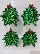 "Christmas Holiday Holly Shatterproof Ornaments 4"" Gold Glidder Set of 4"