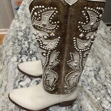 Frye Deborah Deco Tall Boots Size 8.5 Studded Beige Cream White Gold Brown