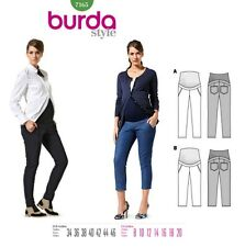 Burda Style 7165 Sew Pattern Women Pregnancy Maternity Fitted Pants, Capri 8-20