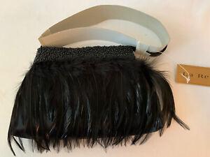Vintage La Regale Ostrich Beaded Evening Bag Black NEW