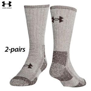 UA Socks: 2-PAIR ColdGear Boot Crew (L) Brown Marl