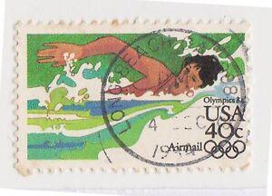 (UST-412) 1982 USA 40c swimming Olympics air mail (B)