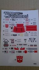 A Transformers replacement sticker/decal sheet for G1 Whirl