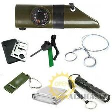 Survival Kit Emergency Blanket+Whistle Gear Compass+Flint+Saw+Card Knife+Torch