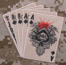 DEAD MAN HAND ACES & 8'S NAVY SEALS WARFARE OPERATOR DESERT VELCRO® BRAND PATCH
