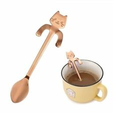 Small Mini 304 Stainless Steel Cat Kitty Coffee Stirring Spoon Colorful Dessert