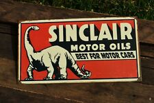 Sinclair Motor Oils Tin Metal Sign - Oil and Refining Corporation Dino Dinosaur