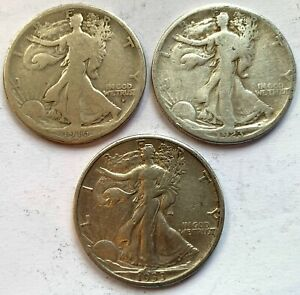 THREE WALKING LIBERTY HALF DOLLARS 1916 D, 1923 S & 1933 S BETTER DATES CIRC