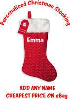 Personalised Christmas Stocking Deluxe Fluffy White Top ADD ANY NAME - FREE POST