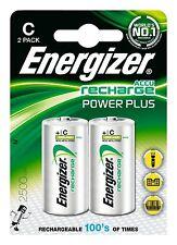 2 Energizer Size C Power Plus Rechargeable Batteries 2500mAh LR14 HR14 ACCU 1.2v