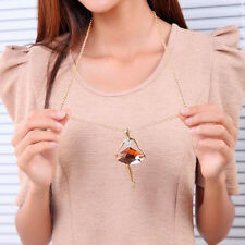 1x Women Ballet Dancing Girl Pendant Sweater Necklace Charm Long Dress Crystal